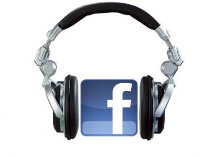 Facebook logo with headphones
