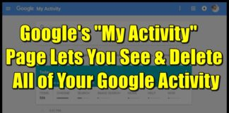delete all data from Google My Activity page