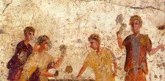 Gambling in ancient Rome - Mural