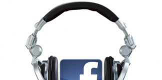 Facebook logo with headphones