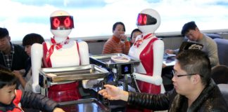 Robots serving food at a restaurant in China
