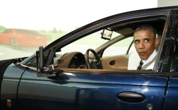 US President Barack Obama behind the wheel of a self-driving car