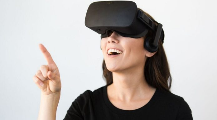 woman wearing VR headset