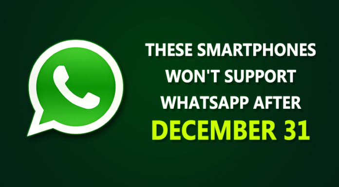 No whatsapp support for these smartphones and operating system versions after December 31, 2016