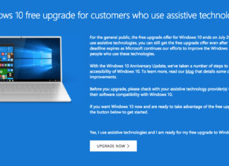 free Windows 10 upgrade for assistive technology users