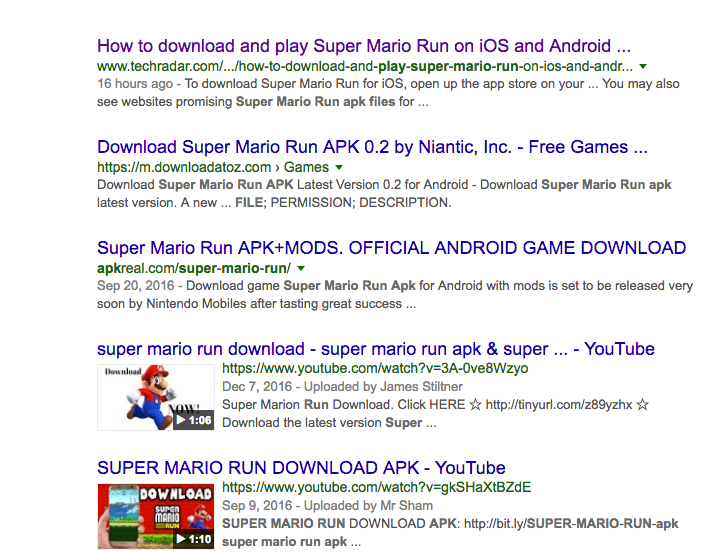 Fake Android Super Mario Run APK files