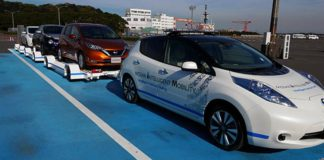 Driverless Nissan LEAFs used in Nissan's factory to shunt cars to the dock