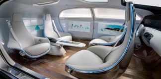 Concept design of the interior of a self-driving car