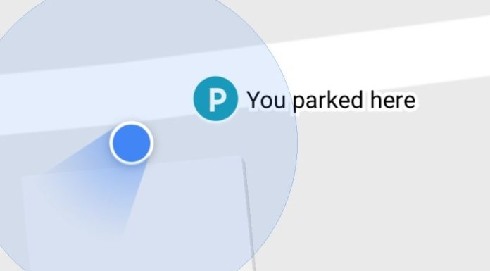 Google Maps feature find car in parking lot