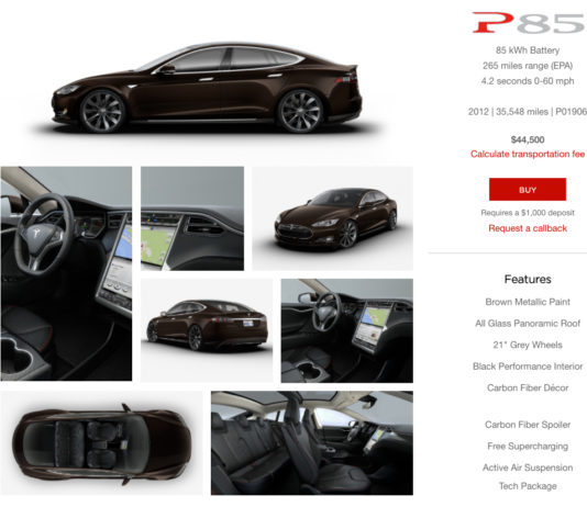Tesla Model S P85 Used Inventory