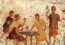 Gambling in ancient Rome - Mural