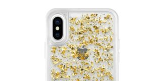 iPhone X protective case yellow gold with 24k gold foil