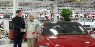 Elon Musk with Narenda Modi Prime Minister of India at the Fremont factory