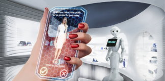 Virtual Reality hand holding a virtual phone with a robot in the background
